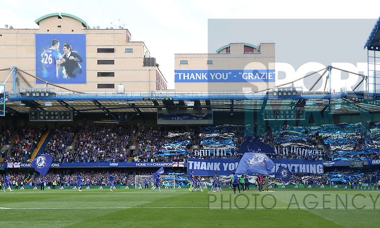Chelsea's John Terry leads out his team for the final time during the Premier League match at Stamford Bridge Stadium, London. Picture date: May 18th, 2017. Pic credit should read: David Klein/Sportimage