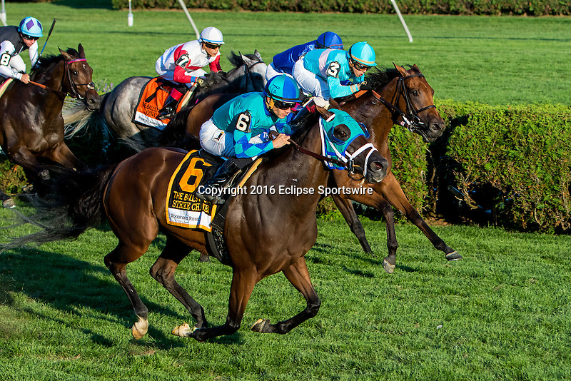 SARATOGA SPRINGS - AUGUST 27: Strike Charmer #6, ridden by Junior Alvarado, wins the Woodford Reserve Ballston Spa Stakes on Travers Stakes Day at Saratoga Race Course on August 27, 2016 in Saratoga Springs, New York. (Photo by Sue Kawczynski/Eclipse Sportswire/Getty Images)