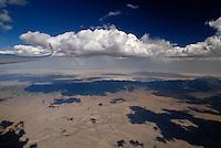 Salz See: AMERIKA, VEREINIGTE STAATEN VON AMERIKA, UTAH,  (AMERICA, UNITED STATES OF AMERICA), 17.07.2006:Grosser Salzsee, Great Salt Lake Dessert zwischen Nevada und Utah, Wueste von Utah, Abenteuer, Reise, Aussicht, Wolke, Cumulus, Segelfliegen, Luftbild, Luftaufnahme, Aufwind-Luftbilder