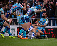 Exeter Chiefs' Tom O'Flaherty celebrates his sides fourth try<br /> <br /> Photographer Bob Bradford/CameraSport<br /> <br /> European Rugby Heineken Champions Cup Pool 2 - Exeter Chiefs v Castres - Sunday 13th January 2019 - Sandy Park - Exeter<br /> <br /> World Copyright &copy; 2019 CameraSport. All rights reserved. 43 Linden Ave. Countesthorpe. Leicester. England. LE8 5PG - Tel: +44 (0) 116 277 4147 - admin@camerasport.com - www.camerasport.com