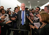 United States Senator John Cornyn (Republican of Texas) makes a statement to the media as he departs following the hearing where Judge Brett Kavanaugh attempted to refute the testimony of Dr. Christine Blasey Ford  before the US Senate Committee on the Judiciary on his nomination to be Associate Justice of the US Supreme Court to replace the retiring Justice Anthony Kennedy on Capitol Hill in Washington, DC on Thursday, September 27, 2018.  <br /> Credit: Ron Sachs / CNP<br /> (RESTRICTION: NO New York or New Jersey Newspapers or newspapers within a 75 mile radius of New York City)
