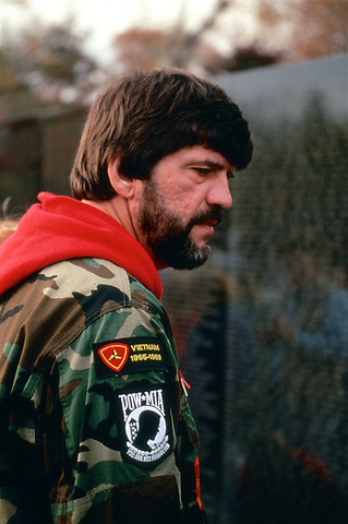 Vietnam Veteran at the Vietnam Memorial Wall on Veterans Day in Washington D.C. November 11,1989