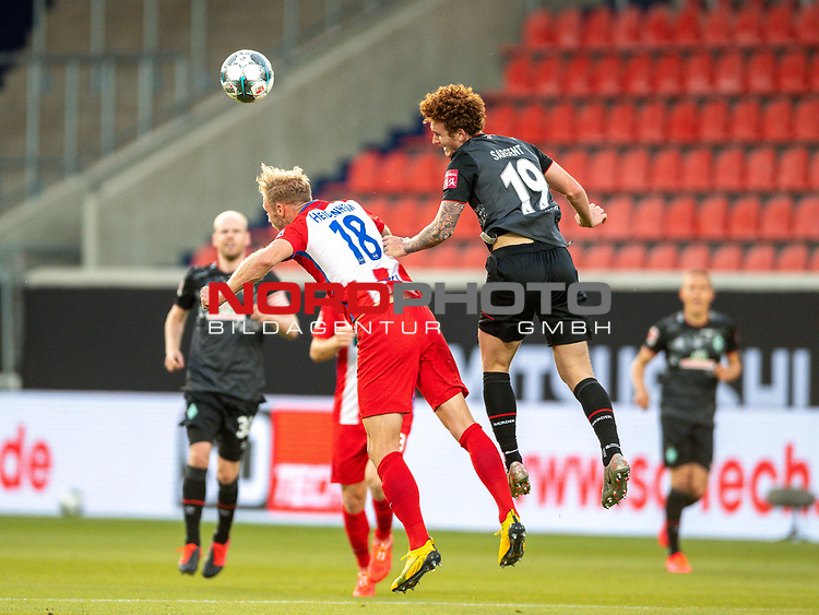 Sebastian Griesbeck (FC Heidenheim, #18), Joshua Sargent (SV Werder Bremen #19),<br /> <br /> GER, FC Heidenheim vs. Werder Bremen, Fussball, Bundesliga Religation, 2019/2020, 06.07.2020,<br /> <br /> DFB/DFL regulations prohibit any use of photographs as image sequences and/or quasi-video., <br /> <br /> <br /> Foto: EIBNER/Sascha Walther/Pool/gumzmedia/nordphoto