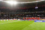 Players  of Atletico de Madrid and Deportivo Alaves line up during the La Liga 2017-18 match between Atletico de Madrid and Deportivo Alaves at Wanda Metropolitano Stadium on 16 December 2017 in Madrid, Spain. Photo by Diego Souto / Power Sport Images