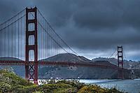 Golden Gate Bridge under grey skies
