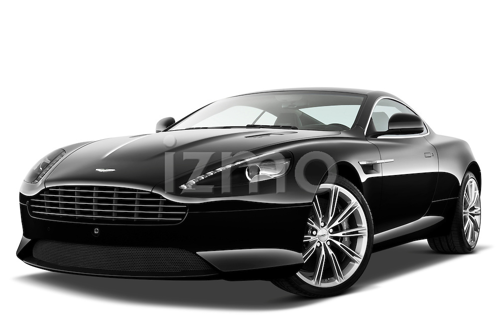 Low aggressive front three quarter view of a 2012 Aston Martin Virage.