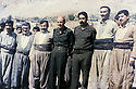Iraq 1984.Meeting of the Kurds with the Iraqi officials: From right to left :2nd Nou Shirwan, Ali Hassan al Majid , Izzat Douri, Jalal Talabani and Fuad Massoum in Surdach near Dokan.Irak 1984.Rencontre des Kurdes avec des officiels irakiens: 2 eme a droite, Nou Shirwan,Ali Hassan al Majid, Izzat Douri, Jelal Talabani et Fouad Massoum