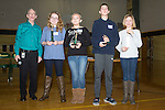 January 16, 2017- Tuscola, IL- East Prairie Middle School held their annual spelling bee. Placers from left are spelling bee organizer Duane Huffman, Catie Gibson (1st place), Brooke Thull (2nd place), Jake Dyer (3rd place), Makenzie Herschberger (alternate). A total of 17 students participated and it took 17 rounds to determine a champion. [Photo: Douglas Cottle]