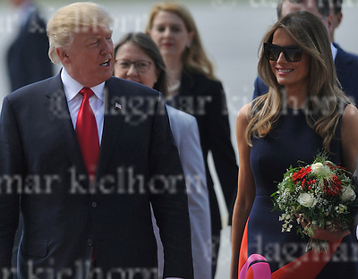 July 06-17,HH Airport, Hamburg,Germany<br /> G20 world leaders arrival at Hamburg Airport.<br /> U.S. President Donald J. Trump and the first lady Melania Trump arrive at Hamburg Airport.