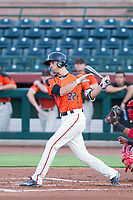 AZL Giants center fielder Nick Hill (22) bats during a game against the AZL Angels on July 10, 2017 at Scottsdale Stadium in Scottsdale, Arizona. AZL Giants defeated the AZL Angels 3-2. (Zachary Lucy/Four Seam Images)