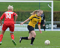 20151128 - PITTEM , BELGIUM : Annelien Van Autreve pictured during a soccer match between the women teams of DVK Egem Ladies and KVK Svelta Melsele  , during the eleventh matchday in the Second League - Tweede Nationale season, Saturday 28 November 2015 . PHOTO DAVID CATRY