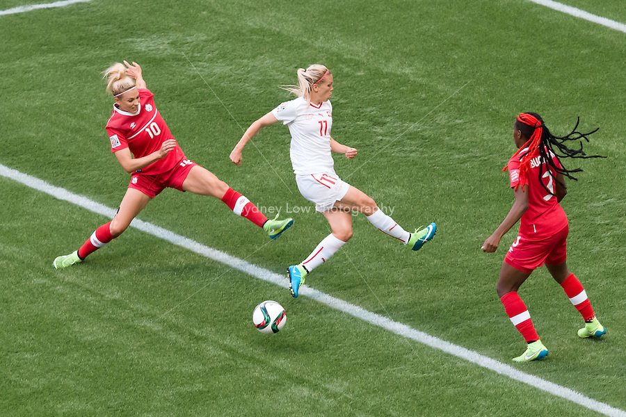 June 21, 2015: Lara DICKENMANN of Switzerland misses the ball during a round of 16 match between Canada and Switzerland at the FIFA Women's World Cup Canada 2015 at BC Place Stadium on 21 June 2015 in Vancouver, Canada. Canada won 1-0. Sydney Low/Asteriskimages.com