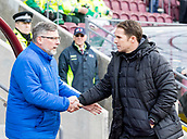 17th March 2018, Tynecastle Park, Edinburgh, Scotland; Scottish Premier League football, Heart of Midlothian versus Partick Thistle;  Alan Archibald manager of Partick Thistle and Craig Levein manager of Hearts before kick off