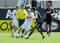 April 11, 2009: Tim Ward of Fire and Ramiro Corrales  fight for the ball during a the game at Buck Shaw Stadium in Santa Clara, California. San Jose Earthquakes and Chicago Fire tied, 3-3