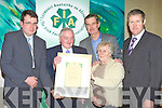 Former IFA Chairman Francie Brosnan, Castleisland who was honored with a life membership of the Irish Farmers Association in the Manor West Hotel, Tralee on Monday night l-r: James McCarthy IFA County Chairman, Francie Brosnan, Dick Spring, Mary Brosnan and Chris Hayes IFA Munster chairman