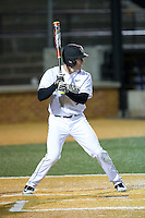 Kevin Conway (7) of the Wake Forest Demon Deacons at bat against the Georgetown Hoyas at David F. Couch Ballpark on February 19, 2016 in Winston-Salem, North Carolina.  The Demon Deacons defeated the Hoyas 3-1.  (Brian Westerholt/Four Seam Images)