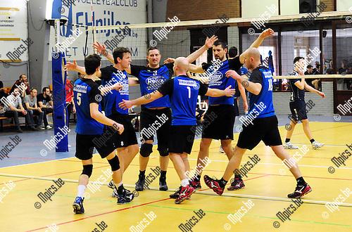2015-03-08 / Volleybal / seizoen 2014-2015 / Nijlen -  Wezo Westerlo / svbo / Nijlen viert hier wel een punt maar ging toch met 0-3 inderuit.<br /><br />Foto: Mpics.be