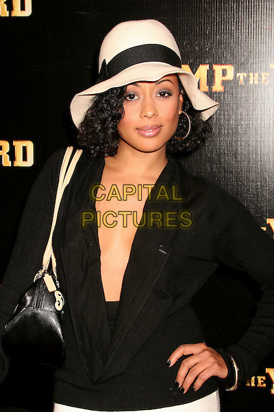"ESSENCE ATKINS.""Stomp The Yard"" Los Angeles Premiere at Arclight Cinemas, Hollywood, California, USA, 8 January 2007..half length black top low cut plunging neckline hat.CAP/ADM/BP.©Byron Purvis/AdMedia/Capital Pictures."