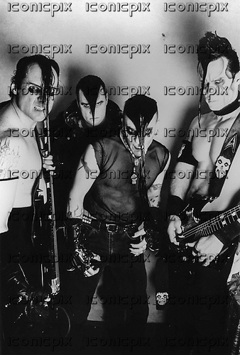 MISFITS - L-R: Jerry Only, David Calabrese, Myke Hideous, Doyle Wolfgang von Frankenstein - London UK - 1998.  Photo credit: Tony Woollisctoft/IconicPix