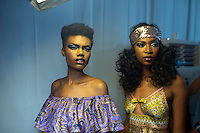JOHANNESBURG, SOUTH AFRICA - MARCH 11: Models wait backstage before a show with the designer Spero Viliotti  Johannesburg Fashion Week week on March 11, 2016, at Nelson Mandela Square Johannesburg, South Africa. (Photo by: Per-Anders Pettersson)