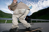 Longboarding can be hard on your bum! The first ever Norwegian Longboarding Championship was held during the Extreme Sport Week, an annual event that draws adrenalin junkies to the small Norwegian mountain town of Voss. © Fredrik Naumann
