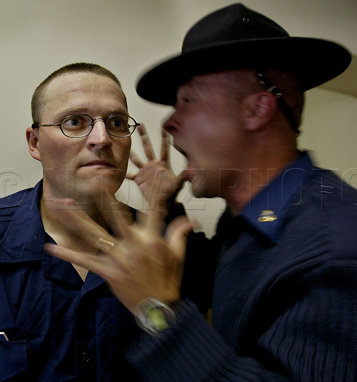 USCG Chief Sutton reprimands a Seaman recruit during boot camp at The United States Coast Guard Training Center, Cape May, NJ.