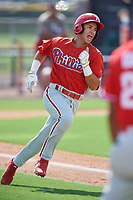 Philadelphia Phillies Jose Mercado (5) runs to first base during a Florida Instructional League game against the New York Yankees on October 11, 2018 at Yankee Complex in Tampa, Florida.  (Mike Janes/Four Seam Images)