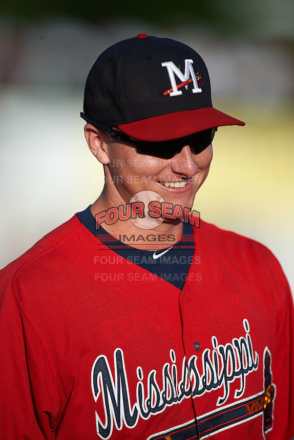 Mississippi Braves outfielder David Rohm (24) during warmups before a game against the Pensacola Blue Wahoos on May 28, 2015 at Trustmark Park in Pearl, Mississippi.  Mississippi defeated Pensacola 4-2.  (Mike Janes/Four Seam Images)