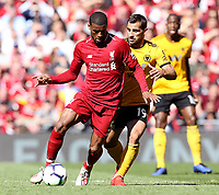 Liverpool's Georginio Wijnaldum under pressure from Wolverhampton Wanderers' Jonathan Castro Otto<br /> <br /> Photographer Rich Linley/CameraSport<br /> <br /> The Premier League - Liverpool v Wolverhampton Wanderers - Sunday 12th May 2019 - Anfield - Liverpool<br /> <br /> World Copyright © 2019 CameraSport. All rights reserved. 43 Linden Ave. Countesthorpe. Leicester. England. LE8 5PG - Tel: +44 (0) 116 277 4147 - admin@camerasport.com - www.camerasport.com