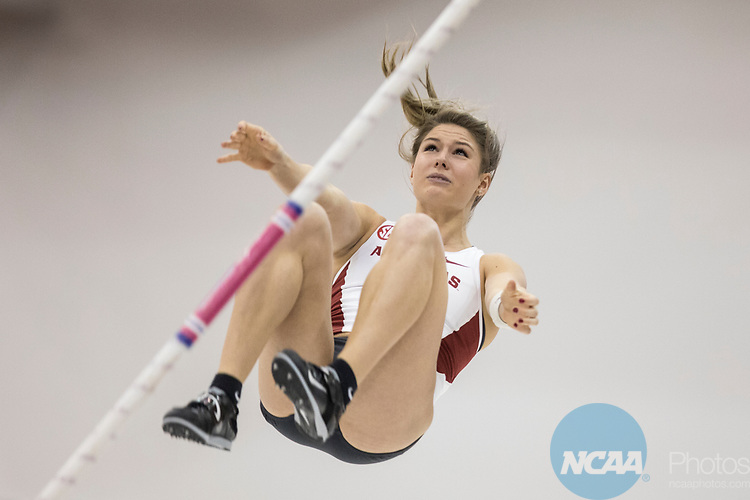 COLLEGE STATION, TX - MARCH 11: Victoria Weeks of Arkansas competes in the pole vault during the Division I Men's and Women's Indoor Track & Field Championship held at the Gilliam Indoor Track Stadium on the Texas A&M University campus on March 11, 2017 in College Station, Texas. (Photo by Michael Starghill/NCAA Photos/NCAA Photos via Getty Images)