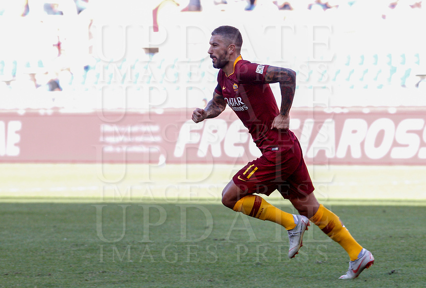 Roma's Aleksandar Kolarov celebrates after scoring during the Italian Serie A football match between Roma and Lazio at Rome's Olympic stadium, September 29, 2018. Roma won 3-1.<br /> UPDATE IMAGES PRESS/Riccardo De Luca