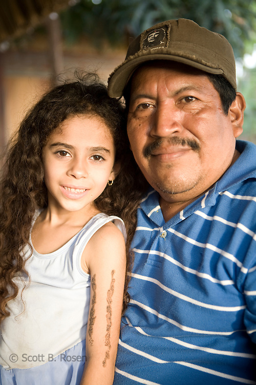 Nicaraguan man poses with his niece on Isla de Ometepe, Nicaragua