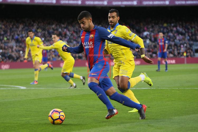 League Santander 2016/2017. Game: 18.<br /> FC Barcelona vs UD Las Palmas: 5-0.<br /> Rafinha vs Michel.