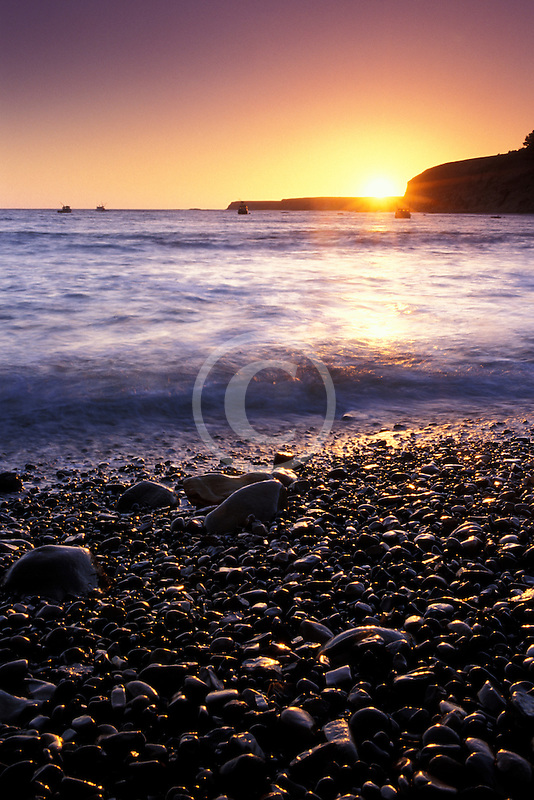 California, Point Arena, Sunset from beach at Arena Cove