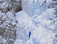 Ice climber in Maligne Canyon, Jasper National Park, Alberta, Canada