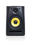 Closeup of an audio sound system speaker isolated with clipping path on white background