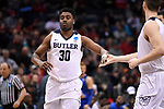 MILWAUKEE, WI - MARCH 18: Butler Bulldogs forward Kelan Martin (30) high fives a teammate during the first half of the 2017 NCAA Men's Basketball Tournament held at BMO Harris Bradley Center on March 18, 2017 in Milwaukee, Wisconsin. (Photo by Jamie Schwaberow/NCAA Photos via Getty Images)