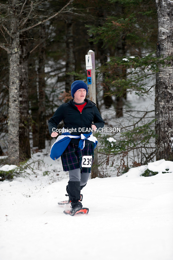 Michelle Czlapinski  competes in the 2016 Moose Tracks Snowshoe Race at Minocqua Winter Park & Nordic Center in Minocqua, WI on Jan. 3, 2016.