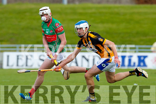 Barry Mahony Crotta O'Neills in action against Tadhg Brick Abbeydorney/Tralee Parnells in the Minor Hurling County Final   at Austin Stack Park on Sunday.