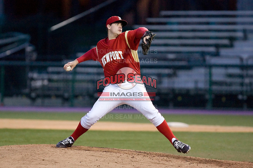 March 14, 2011: Newport High School pitcher Jared Fisher #27 delivers a pitch against Eastside Catholic High School during a non-league game at Husky Ballpark in Seattle, Washington.  Photo by: Ronnie Allen/Four Seam Images