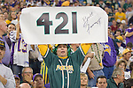 A fan of the Green Bay Packers displays a sign after Brett Favre #4 breaks the all-time touchdown passing record during an NFL football game against the Minnesota Vikings at Hubert H. Humphrey Metrodome on September 30, 2007 in Minneapolis, Minnesota. The Packers beat the Vikings 23-16. (Photo by David Stluka)