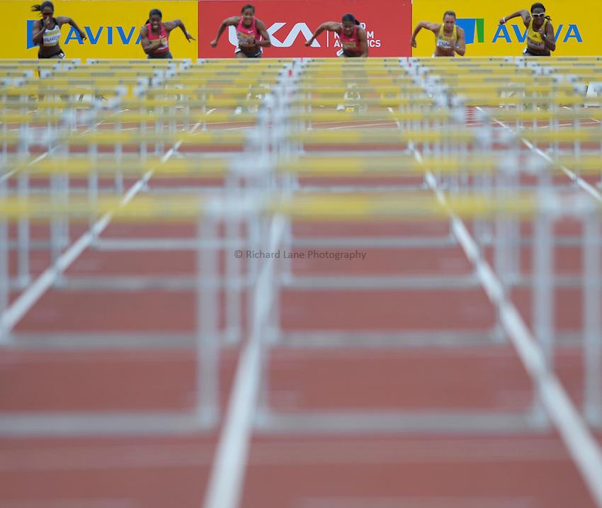 Photo: Ady Kerry/Richard Lane Photography..Aviva British Grand Prix. 31/08/2009. .UKA and Aviva advert boards behind the 100m hurdles start