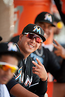 GCL Marlins relief pitcher Javier Garcia (39) poses for a photo in the dugout during the second game of a doubleheader against the GCL Nationals on July 23, 2017 at Roger Dean Stadium Complex in Jupiter, Florida.  GCL Nationals defeated the GCL Marlins 1-0.  (Mike Janes/Four Seam Images)