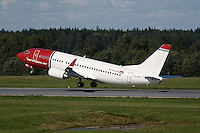 Boeing 737-300 from airline Norwegian Air Shuttle takes off. 100 years of Norwegian aviation was celebrated with an airshow at Rygge Airbase. May 5th 1909, Norsk Luftseiladsforening, the predecessor of the Norwegian Air Sports Federation, was founded, and became the start of organised aviation and air sports in Norway. Since then there's been major developments within military and civilian aviation, as well as within the various air sports activities.  .©Fredrik Naumann/Felix Features.