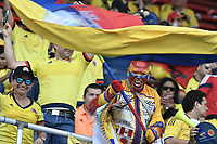 BARRANQUILLA - COLOMBIA - 05-10-2017:  Hinchas de Colombia animan a su equipo previo al partido entre Colombia y Paraguay por la fecha 17 de la clasificatoria a la Copa Mundial de la FIFA Rusia 2018 jugado en el estadio Metropolitano Roberto Melendez en Barranquilla. / Fans of Colombia cheer for their team prior the match between Colombia and Paraguay for the date 17 of the qualifier to FIFA World Cup Russia 2018 played at Metropolitan stadium Roberto Melendez in Barranquilla. Photo: VizzorImage/ Gabriel Aponte / Staff