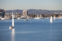 Sailboats in the harbor at Marina Del Rey in Los Angeles