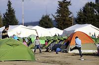 Pictured: Refugee children play in the camp Thursday 25 February 2016<br /> Re: Refugees have been left stranded in temporary camps after Greek FYRO Macedonian borders were closed in Idomeni, northern Greece.