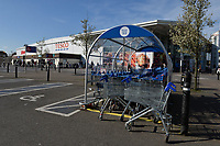Shopping trolleys outside the Tesco store in Waltham Abbey during the COVID-19 pandemic on 22nd March 2020