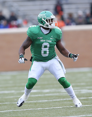 DENTON TX - NOVEMBER 23: Marcus Trice #8 - University of North Texas Mean Green Football vs University of Texas San Antonio at Apogee Stadium on November 23, 2013 in Denton, Texas. (Photo by Rick Yeatts)