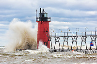 64795-02215 South Haven Lighthouse with high waves crashing South Haven,  MI